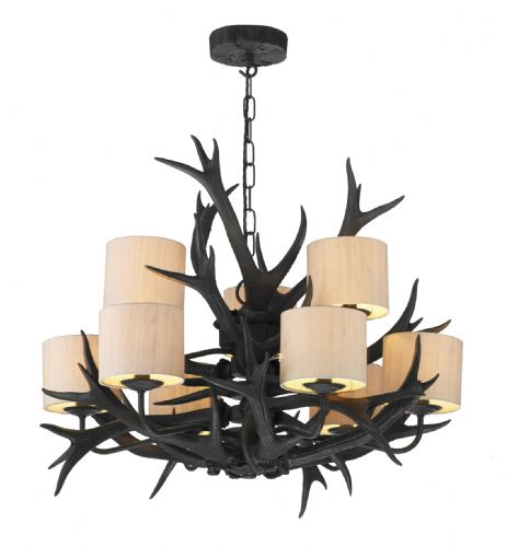 Antler 9-light Made in the Cotswolds Black finish Ceiling Light (Shades Separate) ANT1322